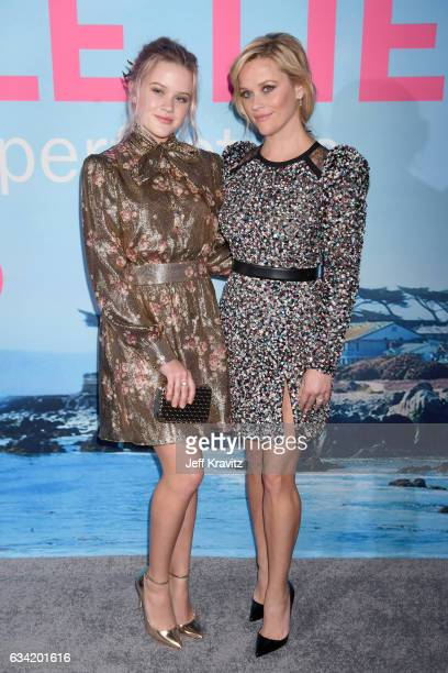 Ava Elizabeth Phillippe and actor/producer Reese Witherspoon attend the premiere of HBO's 'Big Little Lies' at the TCL Chinese Theater on February 7...