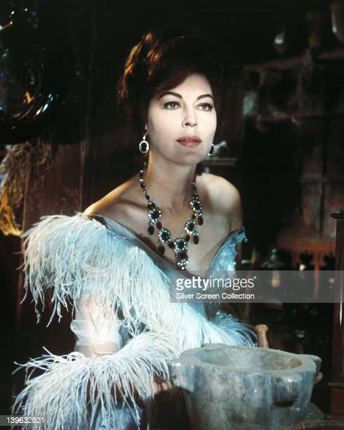 Ava Gardner US actress in period costume with an ornate necklace in a publicity portrait issued for the film '55 Days at Peking' 1963 The historical...