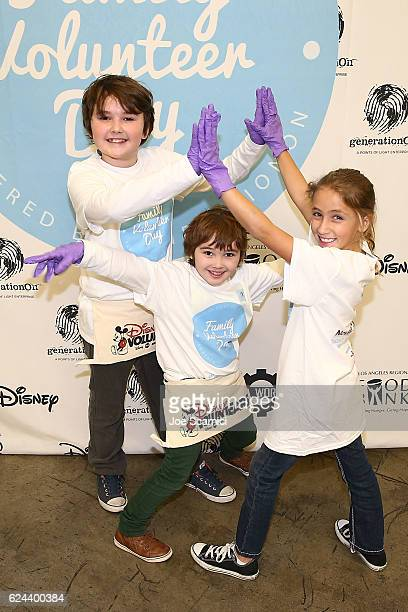 Ava Kolker Cooper Friedman and Quinn Friedman arrive at the generationOn and Disney Family Volunteer Day event on November 19 2016 in Los Angeles...