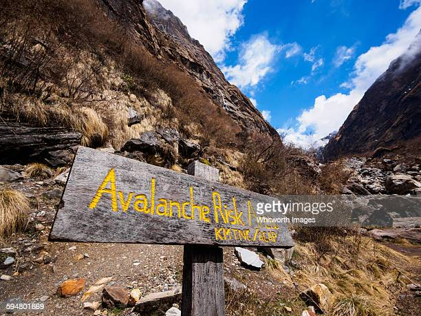 Avalanche warning sign on ABC trekking route Nepal