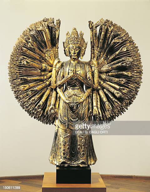 Avalokitesvara Bodhisattva with a thousand arms and thousand eyes gilded and lacquered wooden statue China Chinese Civilisation Five Dynasties and...