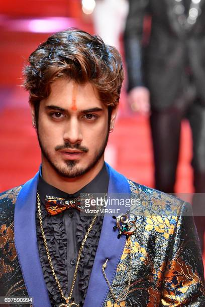 Avan Jogia walks the runway at the Dolce Gabbana show during Milan Men's Fashion Week Spring/Summer 2018 on June 17 2017 in Milan Italy
