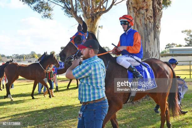 Avapardi ridden by Damian Lane returns to the mounting yard after winning the Hygain Maiden Plate at Swan Hill Racecourse on July 24 2017 in Swan...