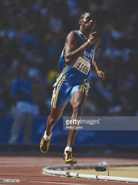 Avard Moncur of the Bahamas in full stride during heat 1 of the Men's 400 metres event during the XXVII Summer Olympic Games on 22 September 2000 at...