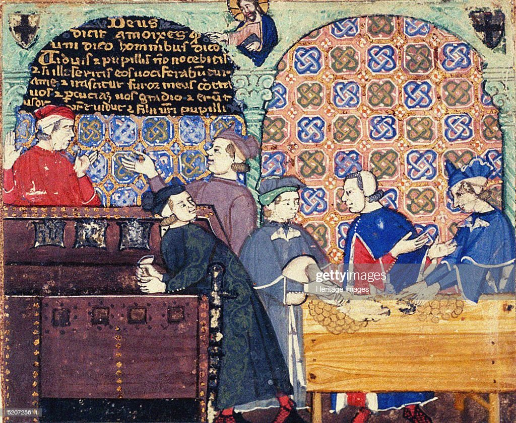 Avarice A miniature with scenes of banking Found in the collection of British Library