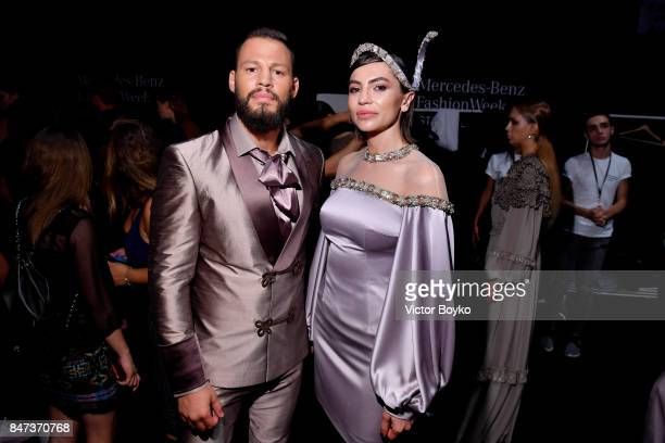 Avatar Atakan and Gunay Musayeva are seen backstage ahead of the Naz by Rufat Ismayilov show during MercedesBenz Istanbul Fashion Week September 2017...