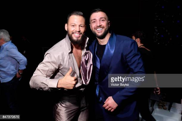 Avatar Atakan and Rufat Ismayilov are seen backstage ahead of the Naz by Rufat Ismayilov show during MercedesBenz Istanbul Fashion Week September...