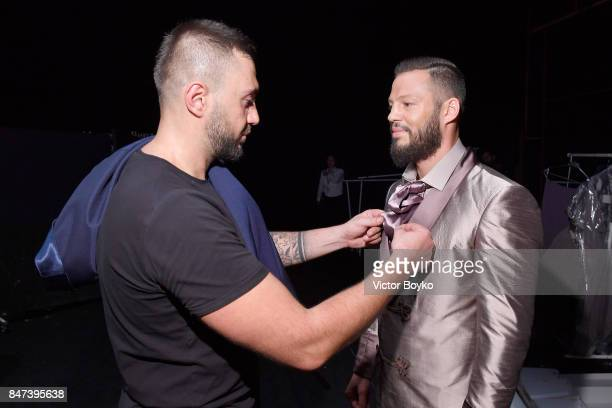 Avatar Atakan and Rufat Ismayilov backstage ahead of the Naz by Rufat Ismayilov show during MercedesBenz Istanbul Fashion Week September 2017 at...