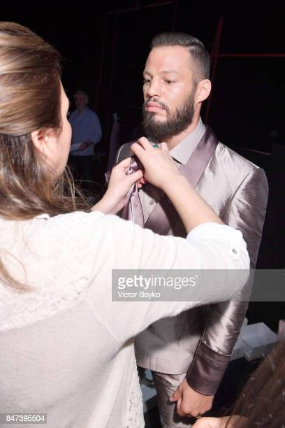 Avatar Atakan backstage ahead of the Naz by Rufat Ismayilov show during MercedesBenz Istanbul Fashion Week September 2017 at Zorlu Center on...