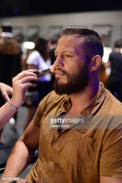 Avatar Atakan is seen backstage ahead of the Naz by Rufat Ismayilov show during MercedesBenz Istanbul Fashion Week September 2017 at Zorlu Center on...