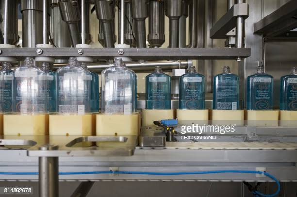 Avene cosmetic products are prepared on the production line at the plant of French multinational pharmaceutical and cosmetics company 'Pierre Fabre'...