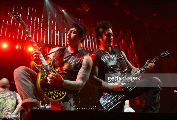 Avenged Sevenfold musicians Zacky Vengeance and Synyster Gates performs at KROQ's Almost Acoustic Xmas Day 1 held at Gibson Amphitheatre on December...