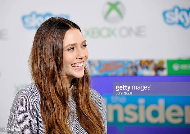 'Avengers Age of Ultron' actress Elizabeth Olsen drops by the Microsoft VIP Lounge to check out Skype for Xbox One during ComicCon on July 26 2014 in...