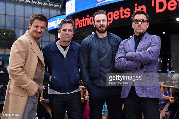 Avengers Robert Downey Jr Chris Evans Mark Ruffalo and Jeremy Renner takeover Time Square on Good Morning America April 24 2015 in support of...