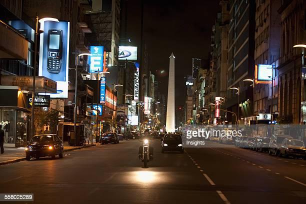 Avenida Corrientes And Obelisk At Night Buenos Aires Capital Federal Argentina