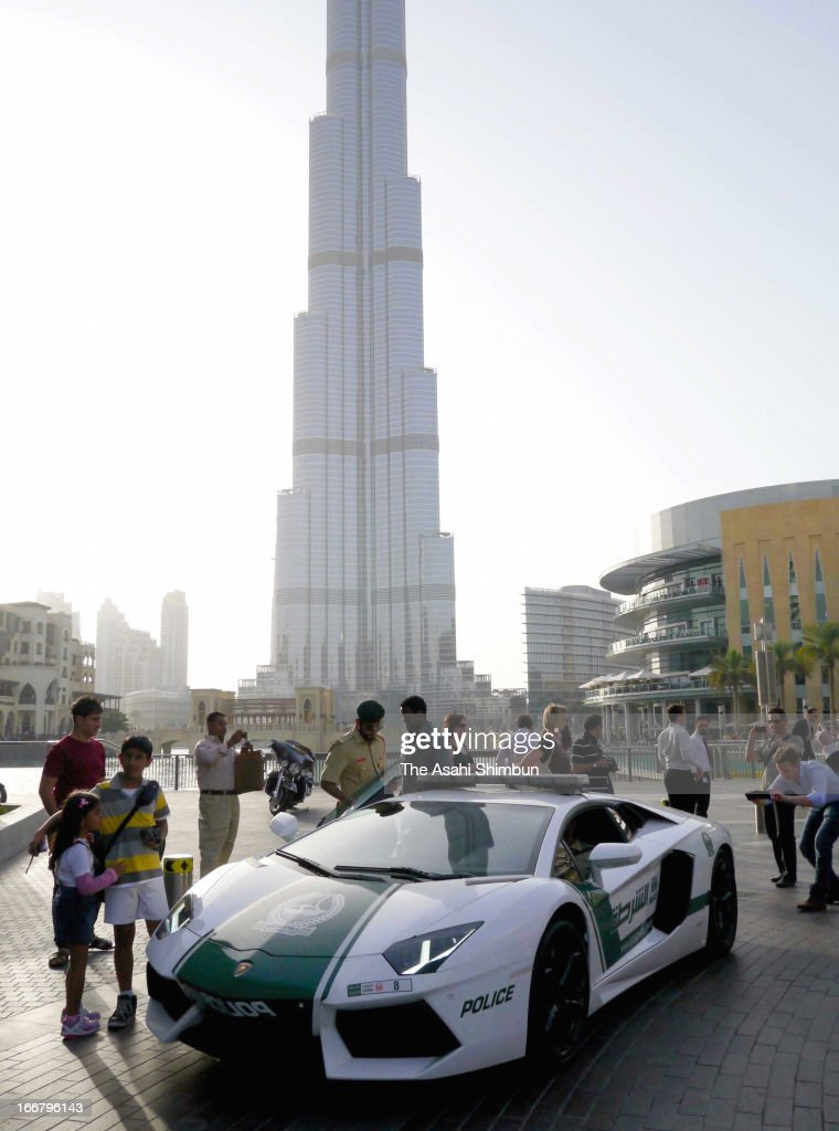 Aventador of Lamborghini, introduced as the Dubai Police patrol car is seen on April 16, 2013 in Dubai, United Arab Emirates.