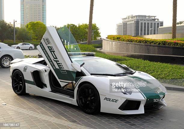 Aventador of Lamborghini introduced as the Dubai Police patrol car is seen on April 16 2013 in Dubai United Arab Emirates