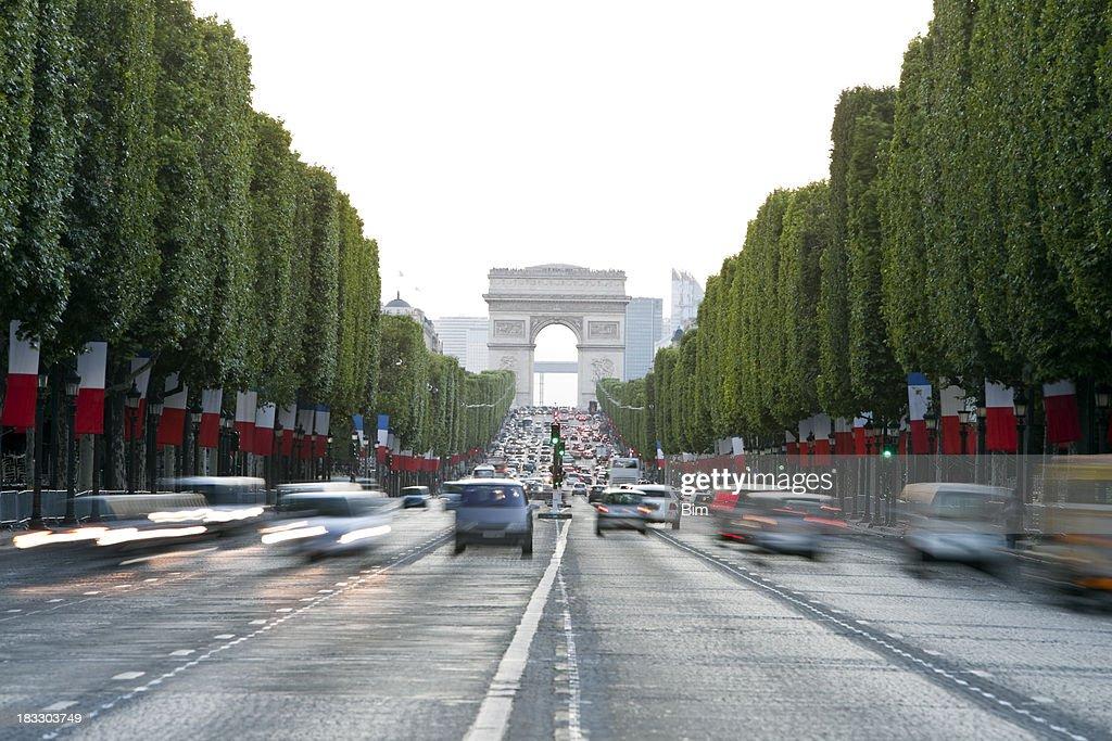 'Avenue des Champs-Elysees and Arc de Triomphe, Paris, France'