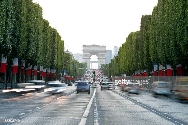 Avenue des Champs-Elysees and Arc de Triomphe, Paris, France