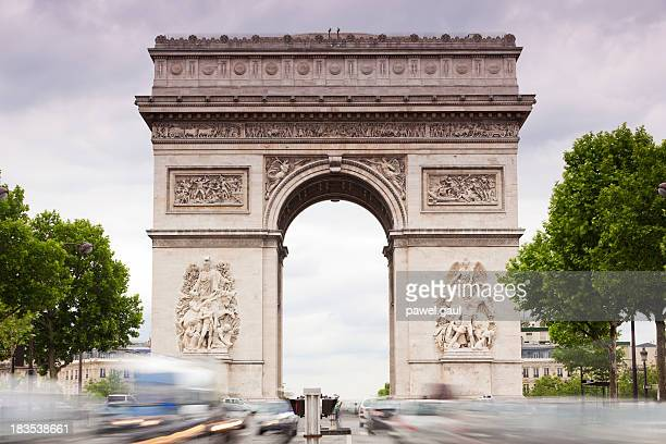 Avenue des Champs-Elysees with Arch of Triumph in pastel colors
