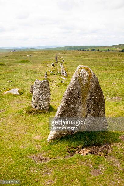 Avenue of standing stones at Merrivale ceremonial complex Dartmoor national park Devon England