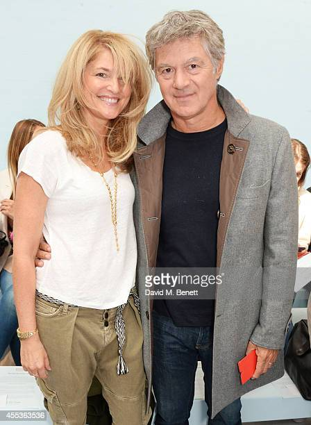 Avery Agnelli and John Frieda attend the Hunter Original SS 2015 catwalk show at on September 13 2014 in London England