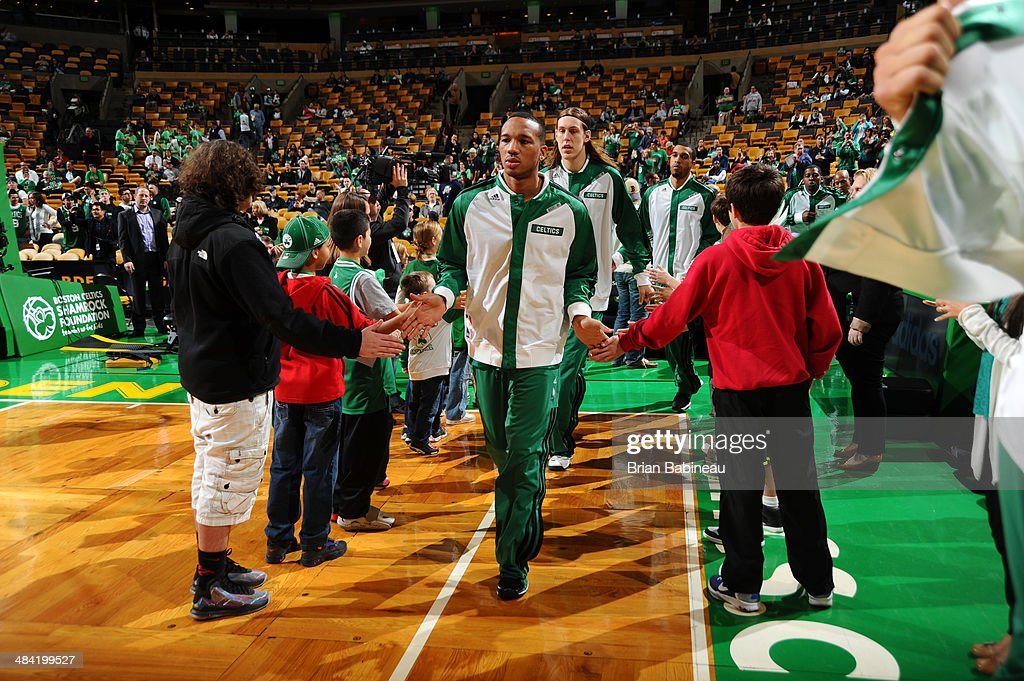 <a gi-track='captionPersonalityLinkClicked' href=/galleries/search?phrase=Avery+Bradley&family=editorial&specificpeople=5792051 ng-click='$event.stopPropagation()'>Avery Bradley</a> #0 and <a gi-track='captionPersonalityLinkClicked' href=/galleries/search?phrase=Kelly+Olynyk&family=editorial&specificpeople=5953512 ng-click='$event.stopPropagation()'>Kelly Olynyk</a> #41 of the Boston Celtics warm up before the game against the Utah Jazz on November 6, 2013 at the TD Garden in Boston, Massachusetts.