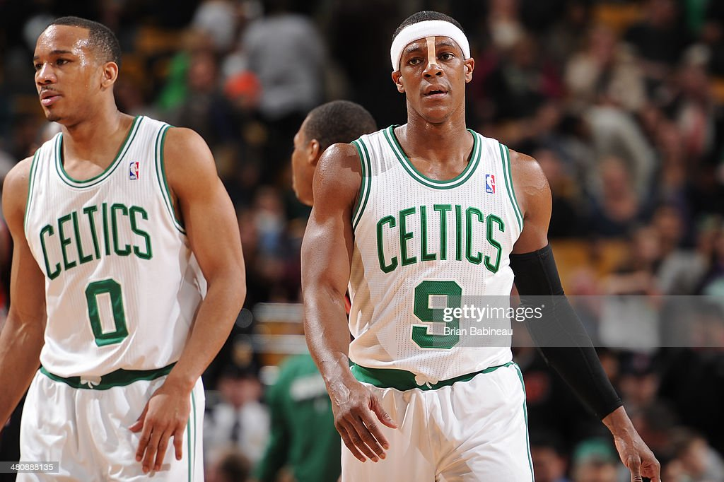 <a gi-track='captionPersonalityLinkClicked' href=/galleries/search?phrase=Avery+Bradley&family=editorial&specificpeople=5792051 ng-click='$event.stopPropagation()'>Avery Bradley</a> #0 and <a gi-track='captionPersonalityLinkClicked' href=/galleries/search?phrase=Rajon+Rondo&family=editorial&specificpeople=206983 ng-click='$event.stopPropagation()'>Rajon Rondo</a> #9 of the Boston Celtics against the Toronto Raptors on March 26, 2014 at the TD Garden in Boston, Massachusetts.