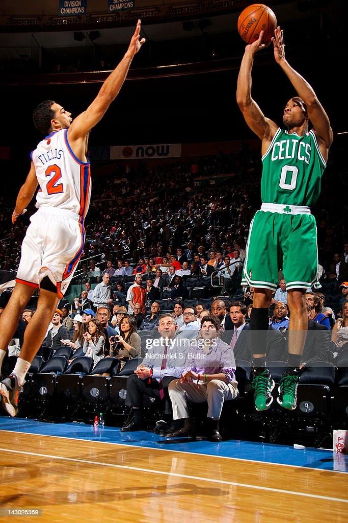 <a gi-track='captionPersonalityLinkClicked' href=/galleries/search?phrase=Avery+Bradley&family=editorial&specificpeople=5792051 ng-click='$event.stopPropagation()'>Avery Bradley</a> #0 of the Boston Celtics attempts a three-point shot against <a gi-track='captionPersonalityLinkClicked' href=/galleries/search?phrase=Landry+Fields&family=editorial&specificpeople=4184645 ng-click='$event.stopPropagation()'>Landry Fields</a> #2 of the New York Knicks on April 17, 2012 at Madison Square Garden in New York City.