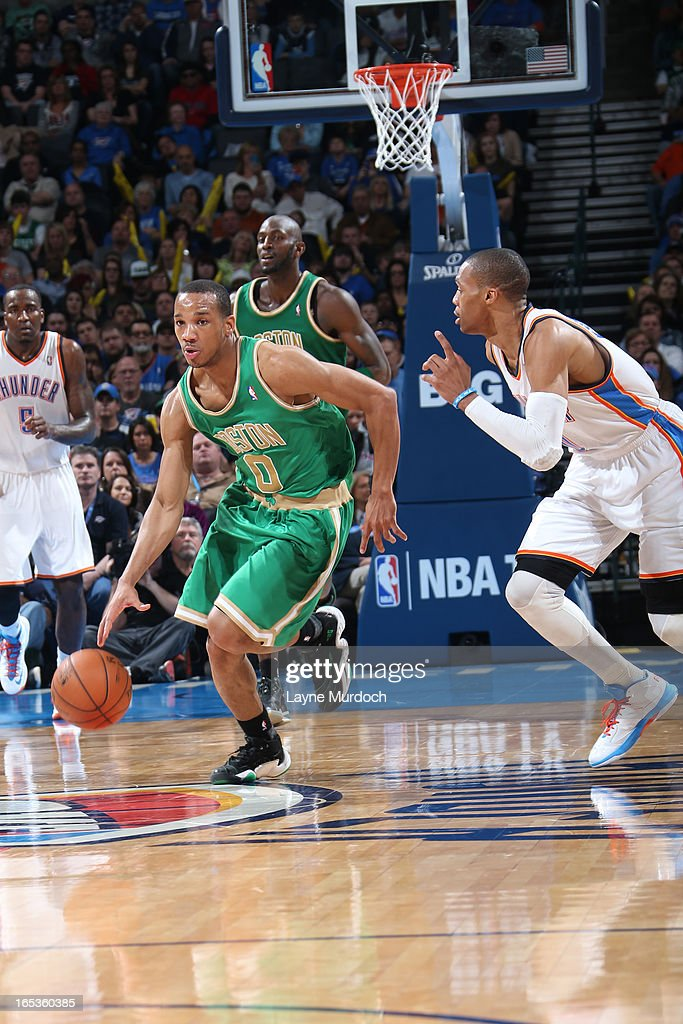 <a gi-track='captionPersonalityLinkClicked' href=/galleries/search?phrase=Avery+Bradley&family=editorial&specificpeople=5792051 ng-click='$event.stopPropagation()'>Avery Bradley</a> #0 of the Boston Celtics brings the ball up court against the Oklahoma City Thunder on March 10, 2013 at the Chesapeake Energy Arena in Oklahoma City, Oklahoma.