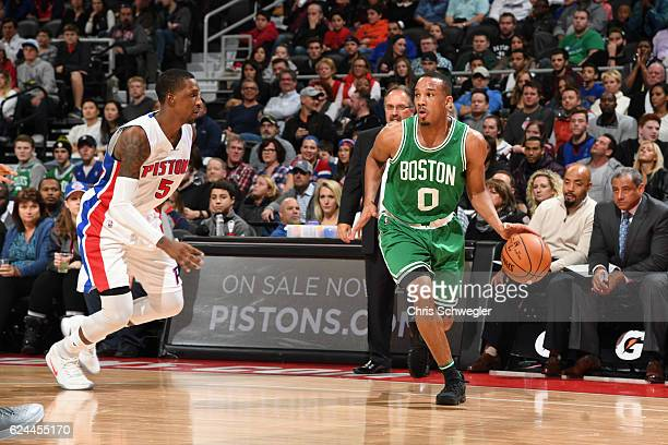 Avery Bradley of the Boston Celtics brings the ball up court against the Detroit Pistons during the game on November 19 2016 at The Palace of Auburn...