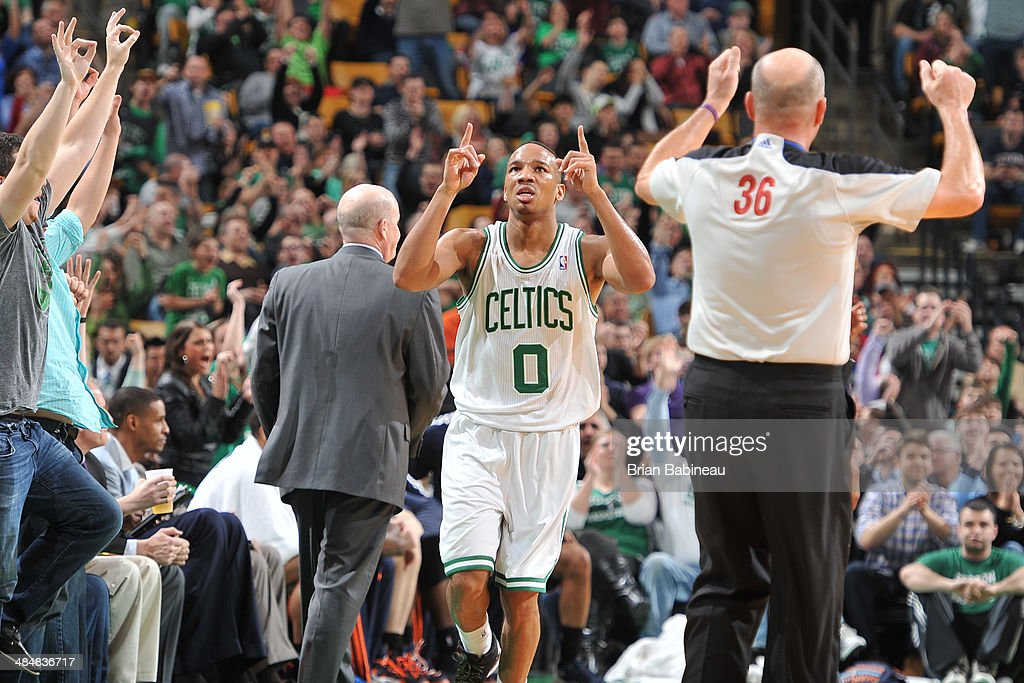 <a gi-track='captionPersonalityLinkClicked' href=/galleries/search?phrase=Avery+Bradley&family=editorial&specificpeople=5792051 ng-click='$event.stopPropagation()'>Avery Bradley</a> #0 of the Boston Celtics celebrates a play against the Charlotte Bobcats on April 11, 2014 at the TD Garden in Boston, Massachusetts.