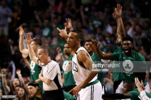 Avery Bradley of the Boston Celtics celebrates after hitting a three point shot against the Chicago Bulls during the first quarter of Game One of the...