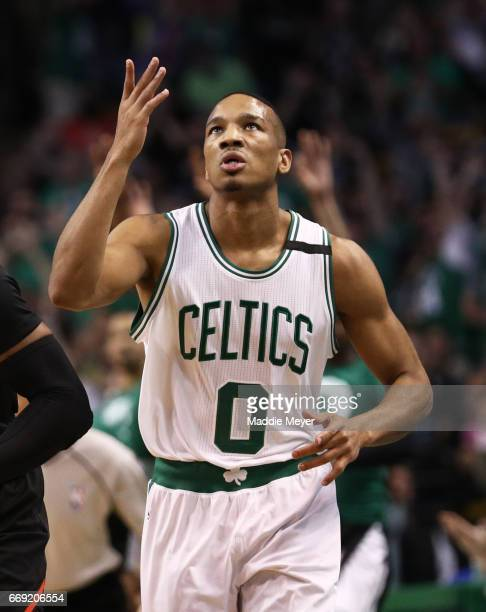 Avery Bradley of the Boston Celtics celebrates after hitting a three pointer against the Chicago Bulls during the first quarter of Game One of the...