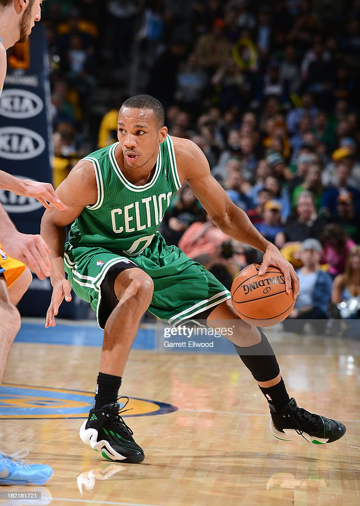 Avery Bradley #0 of the Boston Celtics controls the ball against the Denver Nuggets on February 19, 2013 at the Pepsi Center in Denver, Colorado.