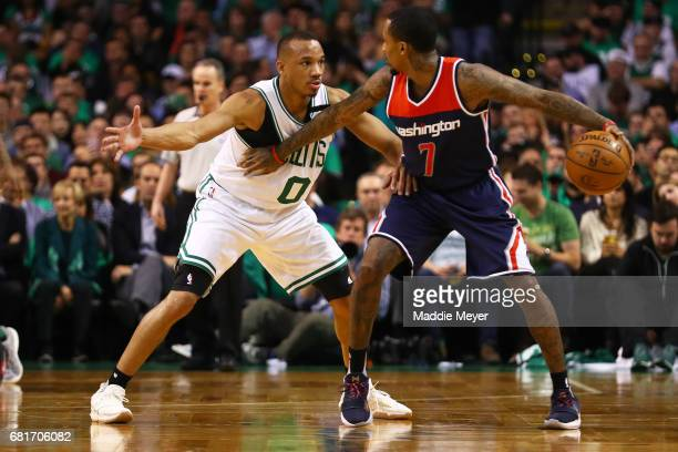 Avery Bradley of the Boston Celtics defends Brandon Jennings of the Washington Wizards during the second half of Game Five of the Eastern Conference...