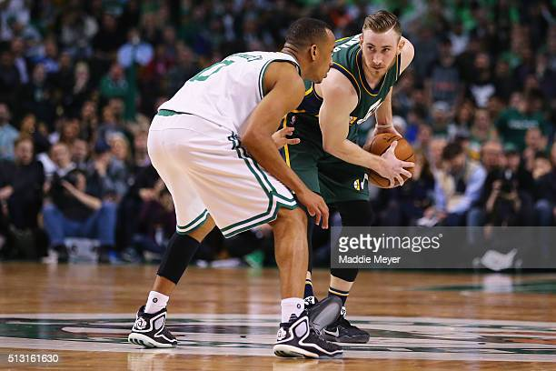 Avery Bradley of the Boston Celtics defends Gordon Hayward of the Utah Jazz during the fourth quarter at TD Garden on February 29 2016 in Boston...
