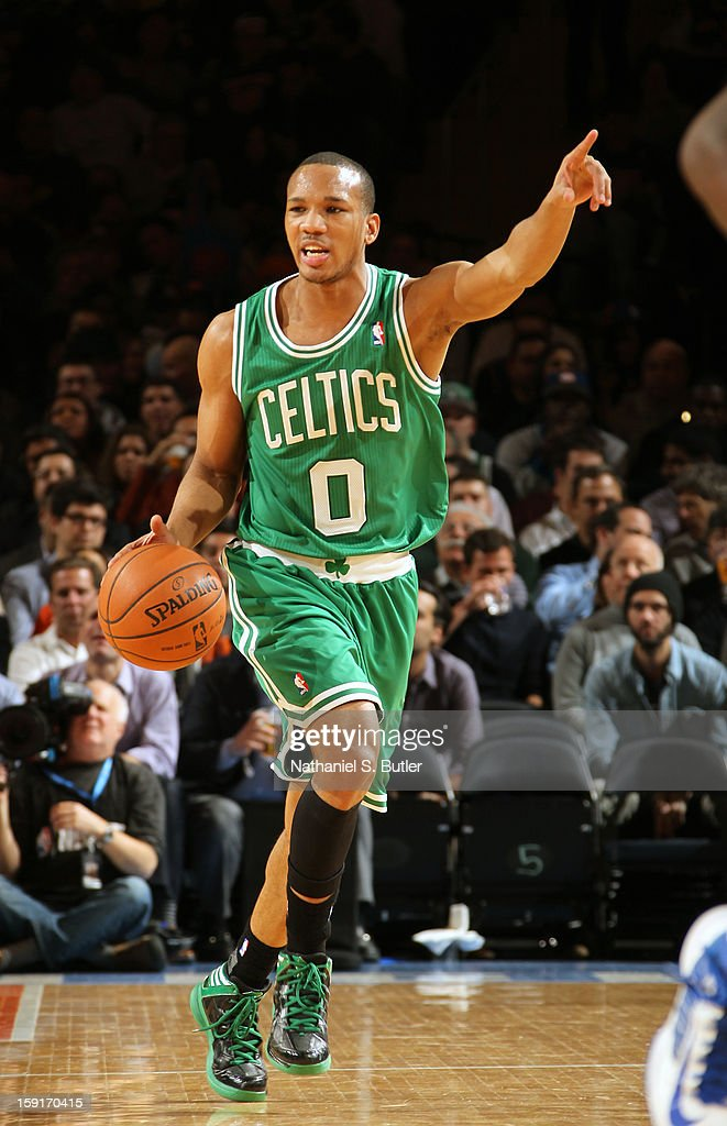 Avery Bradley #0 of the Boston Celtics dribbles in a game against the New York Knicks on January 7, 2013 at Madison Square Garden in New York City.