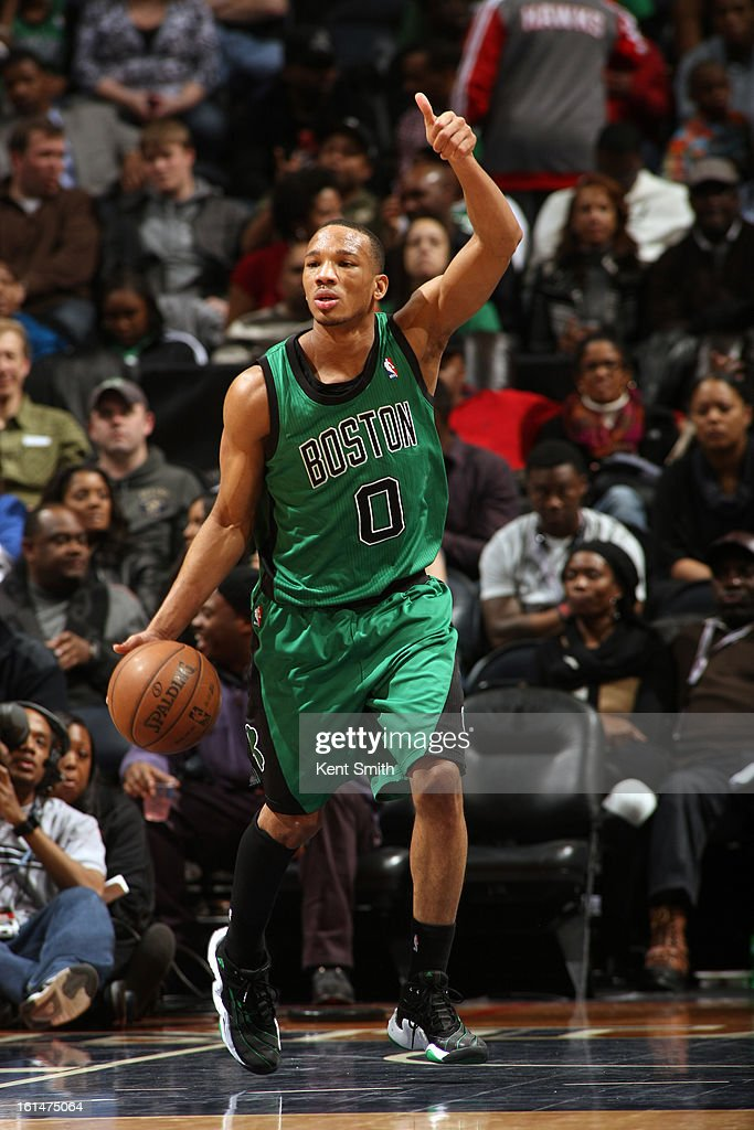 <a gi-track='captionPersonalityLinkClicked' href=/galleries/search?phrase=Avery+Bradley&family=editorial&specificpeople=5792051 ng-click='$event.stopPropagation()'>Avery Bradley</a> #0 of the Boston Celtics dribbles the ball while calling a play against the Atlanta Hawks at the Philips Arena on January 25, 2013 in Atlanta, Georgia.