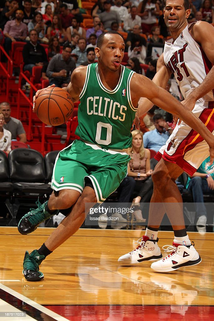 Avery Bradley #0 of the Boston Celtics drives against the Miami Heat on November 9, 2013 at American Airlines Arena in Miami, Florida.