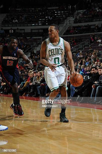 Avery Bradley of the Boston Celtics drives against Will Bynum of the Detroit Pistons on November 3 2013 at The Palace of Auburn Hills in Auburn Hills...