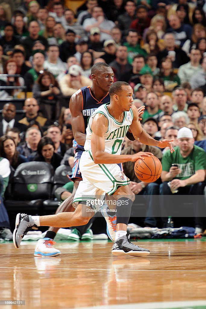 Avery Bradley #0 of the Boston Celtics drives to the basket against Bismack Biyombo #0 of the Charlotte Bobcats on January 14, 2013 at the TD Garden in Boston, Massachusetts.