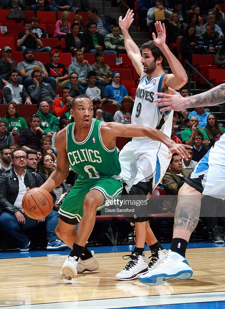 <a gi-track='captionPersonalityLinkClicked' href=/galleries/search?phrase=Avery+Bradley&family=editorial&specificpeople=5792051 ng-click='$event.stopPropagation()'>Avery Bradley</a> #0 of the Boston Celtics drives to the basket against <a gi-track='captionPersonalityLinkClicked' href=/galleries/search?phrase=Ricky+Rubio&family=editorial&specificpeople=4028920 ng-click='$event.stopPropagation()'>Ricky Rubio</a> #9 of the Minnesota Timberwolves during their NBA pre-season game at the Bell Centre on October 20, 2013 in Montreal, Quebec, Canada.