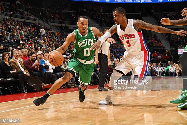 Avery Bradley of the Boston Celtics drives to the basket against Kentavious CaldwellPope of the Detroit Pistons during the game on November 19 2016...