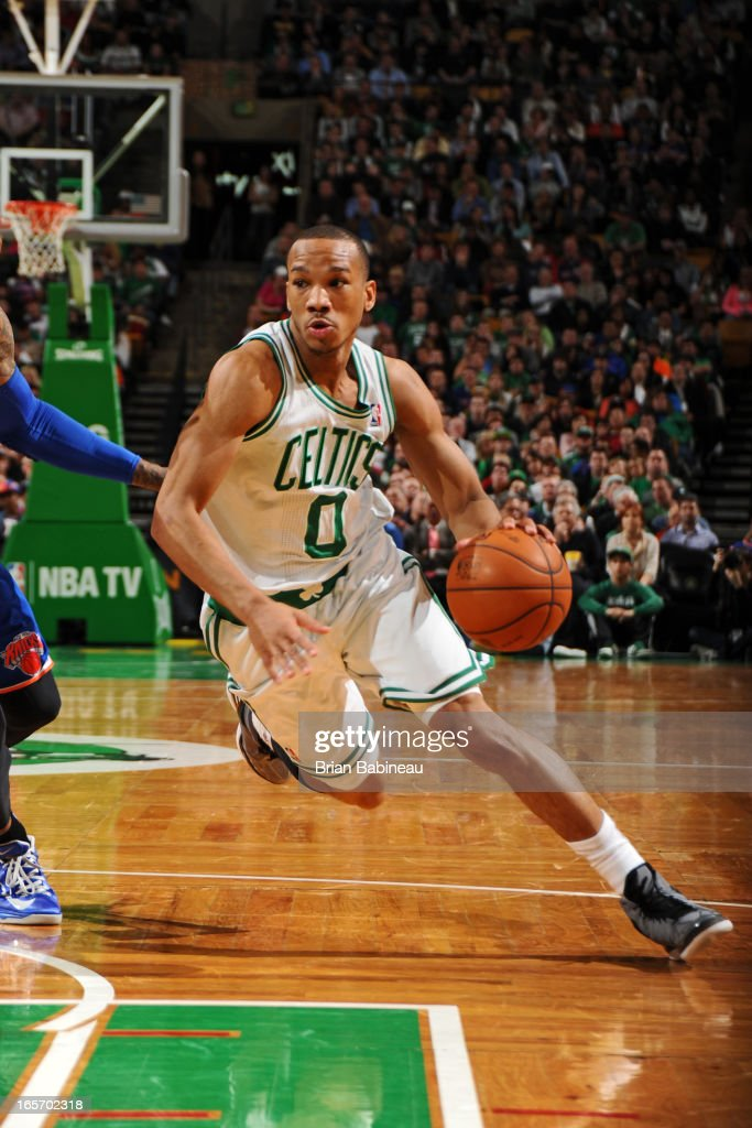 <a gi-track='captionPersonalityLinkClicked' href=/galleries/search?phrase=Avery+Bradley&family=editorial&specificpeople=5792051 ng-click='$event.stopPropagation()'>Avery Bradley</a> #0 of the Boston Celtics drives to the basket against the New York Knicks on March 26, 2013 at the TD Garden in Boston, Massachusetts.