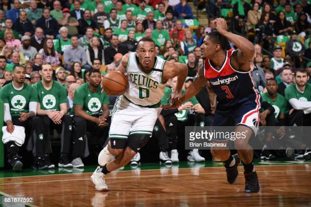 Avery Bradley of the Boston Celtics drives to the basket against the Washington Wizards during Game Five of the Eastern Conference Semifinals of the...