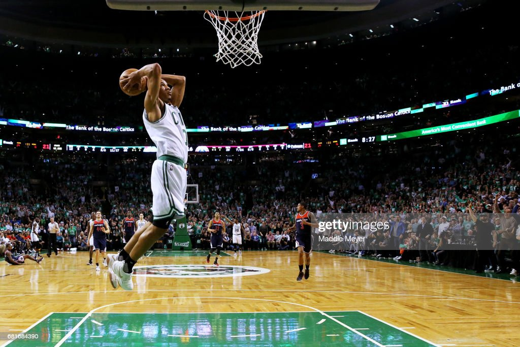 Avery Bradley #0 of the Boston Celtics dunks against the Washington Wizards during the first half of Game Five of the Eastern Conference Semifinals at TD Garden on May 10, 2017 in Boston, Massachusetts.