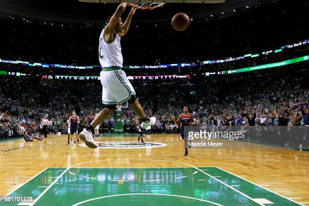 Avery Bradley of the Boston Celtics dunks against the Washington Wizards during the first half of Game Five of the Eastern Conference Semifinals at...