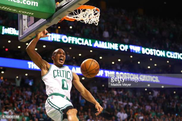Avery Bradley of the Boston Celtics dunks during overtime of the Celtics 129119 win over the Washington Wizards in Game Two of the Eastern Conference...
