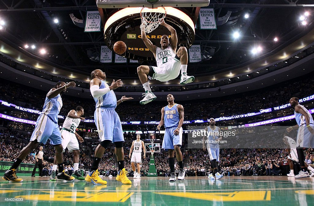 <a gi-track='captionPersonalityLinkClicked' href=/galleries/search?phrase=Avery+Bradley&family=editorial&specificpeople=5792051 ng-click='$event.stopPropagation()'>Avery Bradley</a> #0 of the Boston Celtics dunks the ball against the Denver Nuggets in the second quarter during the game at TD Garden on December 6, 2013 in Boston, Massachusetts.